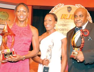 The 'Fab 3' Merlene Ottey, Veronica Campbel-Brown and Mike McCallum share lens time